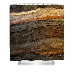 Strata 2 Of Birka Viking Village Shower Curtain by Jacqueline M Lewis