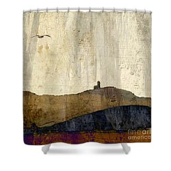 Shower Curtain featuring the photograph Strata With Lighthouse And Gull by LemonArt Photography