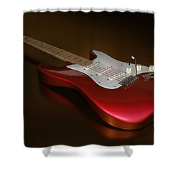 Stratocaster On A Golden Floor Shower Curtain by James Barnes