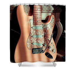 Stratocaster Plus In Shell Pink Shower Curtain