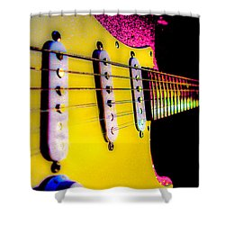 Shower Curtain featuring the photograph Stratocaster Pop Art Pink Fire Neck Series by Guitar Wacky