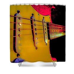 Shower Curtain featuring the photograph Guitar Pop Art Hot Rasberry Fire Neck Series by Guitar Wacky