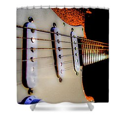 Shower Curtain featuring the photograph Stratocaster Pop Art Tangerine Sparkle Fire Neck Series by Guitar Wacky