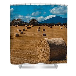Straw Bale In A Field Shower Curtain