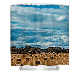 Straw Bales In A Field 2 Shower Curtain