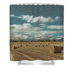 Straw Bales In A Field 3 Shower Curtain
