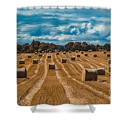 Straw Bales In A Field Shower Curtain