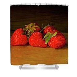 Strawberries 01 Shower Curtain by Wally Hampton