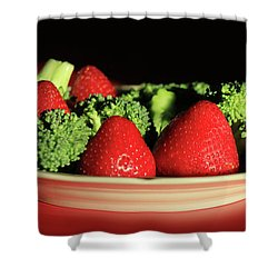 Strawberries And Broccoli Shower Curtain by Lori Deiter