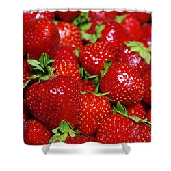 Strawberries Shower Curtain by Carlos Caetano