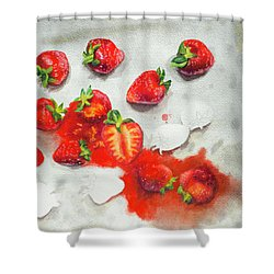 Strawberries On Paper Towel Shower Curtain