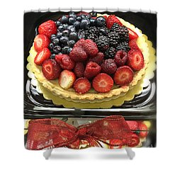Shower Curtain featuring the photograph Strawberries Rasberries Luscious Dessert Fruit Pie With Red Bow  by Kathy Fornal