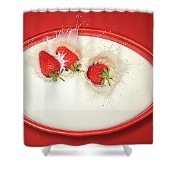 Strawberries Splashing In Milk Shower Curtain