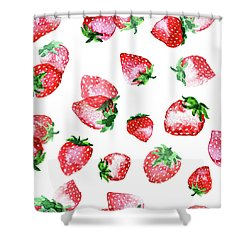 Strawberries Shower Curtain by Varpu Kronholm