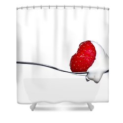 Strawberry And Cream Shower Curtain by Gert Lavsen