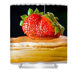 Strawberry Butter Pancake With Honey Maple Sirup Flowing Down Shower Curtain by Ulrich Schade