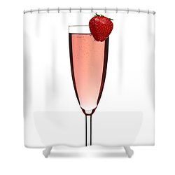 Strawberry Champagne Shower Curtain by Gert Lavsen