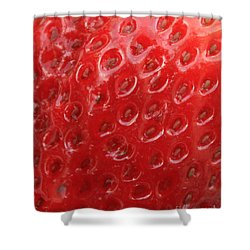 Strawberry Closeup Shower Curtain by Carol Groenen
