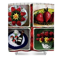 Strawberry Collage Shower Curtain by Sally Weigand