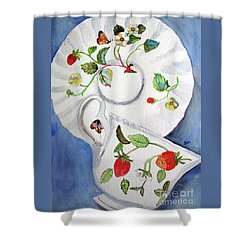 Strawberry Cup And Saucer Shower Curtain