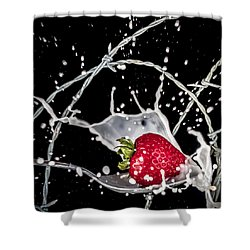 Strawberry Extreme Sports Shower Curtain by TC Morgan
