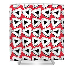 Shower Curtain featuring the mixed media Strawberry Hamentashen- Art By Linda Woods by Linda Woods