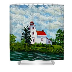 Strawberry Island Lighthouse, Manitoulin Island Shower Curtain