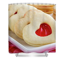 Shower Curtain featuring the photograph Strawberry Jam Filled Heart Cookies by Teri Virbickis