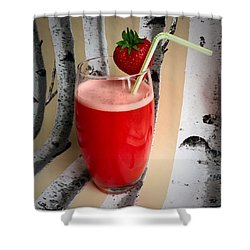 Strawberry Juice Shower Curtain by Kate V