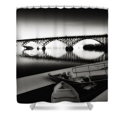 Strawberry Mansion Bridge In Winter Shower Curtain by Bill Cannon