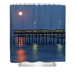 Strawberry Moon Over Sandbridge Shower Curtain