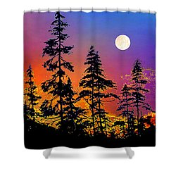 Shower Curtain featuring the painting Strawberry Moon Sunset by Hanne Lore Koehler