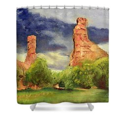 Strawberry Pinnacles Shower Curtain by Sherril Porter
