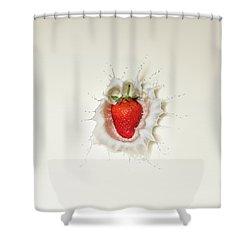 Strawberry Splash In Milk Shower Curtain