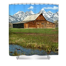 Streaming By The Moulton Barn Shower Curtain by Adam Jewell