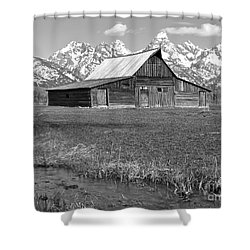 Streaming By The Moulton Barn Black And White Shower Curtain by Adam Jewell