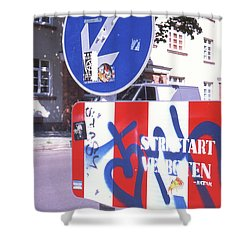 Street Art In Street Sign Shower Curtain