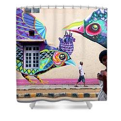 Street Art Shower Curtain by Marji Lang
