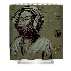 Wheat Paste Art Abstract  Shower Curtain by Sheila Mcdonald