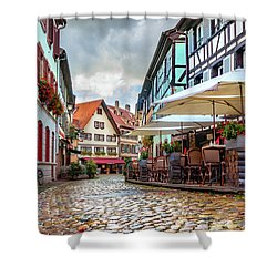 Shower Curtain featuring the photograph Street Cafe After The Rain by Dmytro Korol
