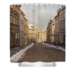 Shower Curtain featuring the photograph Street In Warsaw, Poland by Juli Scalzi