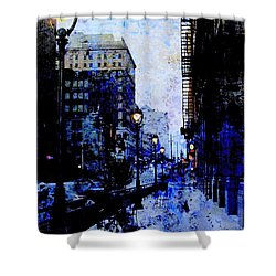 Street Lamps Sidewalk Abstract Shower Curtain