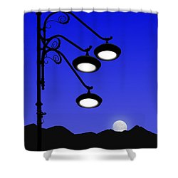 Street Light And Moonrise Shower Curtain