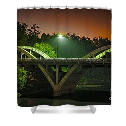 Street Light On Rogue River Bridge Shower Curtain