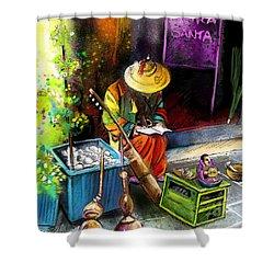 Street Musician In Pietrasanta In Italy Shower Curtain by Miki De Goodaboom
