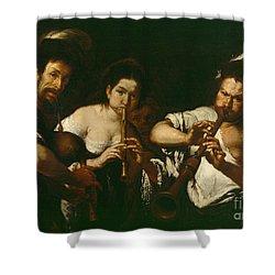 Street Musicians Shower Curtain by Bernardo Strozzi