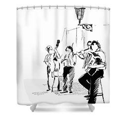 Street Musicians In Prague In The Czech Republic 02 Shower Curtain by Miki De Goodaboom