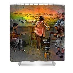 Street Musicians In Prague In The Czech Republic 03 Shower Curtain by Miki De Goodaboom