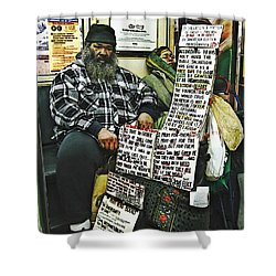 Street Preacher On The A Train Shower Curtain by Sarah Loft