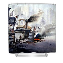 Street Repairing  Shower Curtain